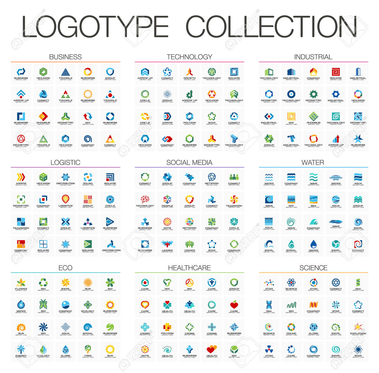 Abstract logo set for business company. Corporate identity design elements. Technology, Eco, Science, Healthcare concepts. Industrial, Logistic, Social Media Logotype collection. Colorful Vector icons - 60944509