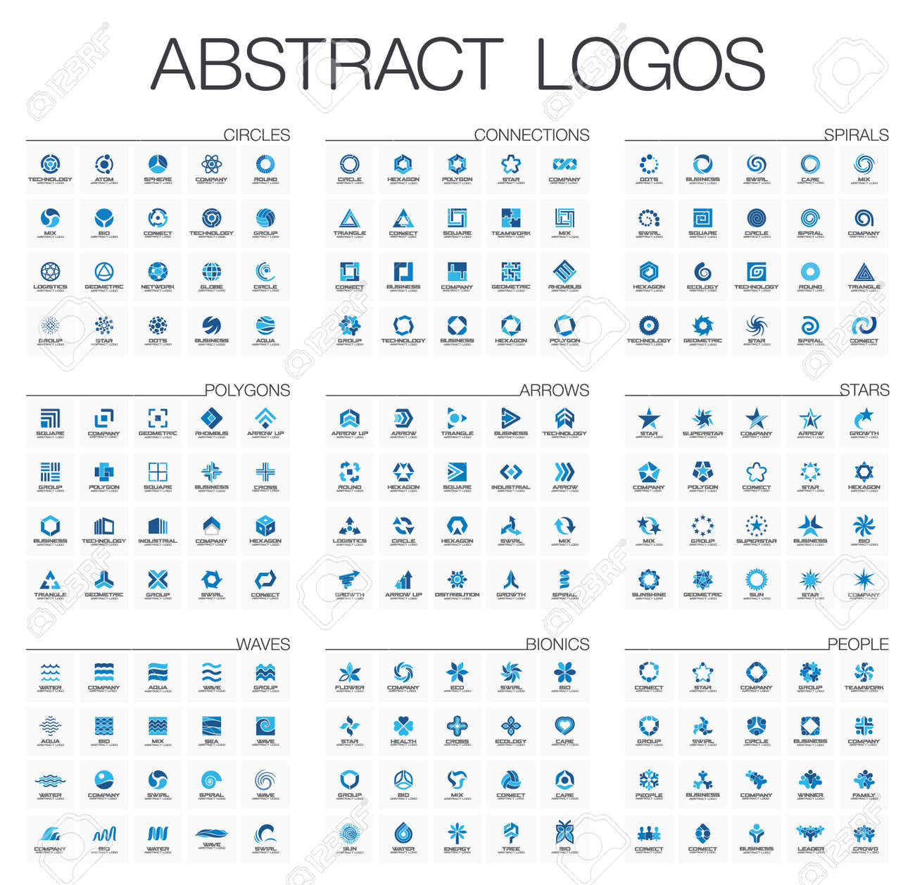 Abstract set for business company. Corporate identity design elements. Star, arrow, water wave, people connect concept. Circle, polygon, square, spiral - 60944535