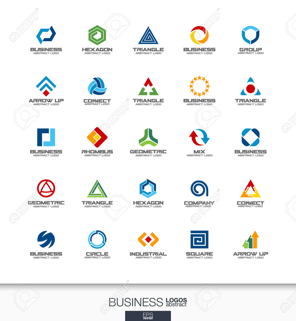Design Elementen Bank.Abstract Logo Set For Business Company Corporate Identity Design
