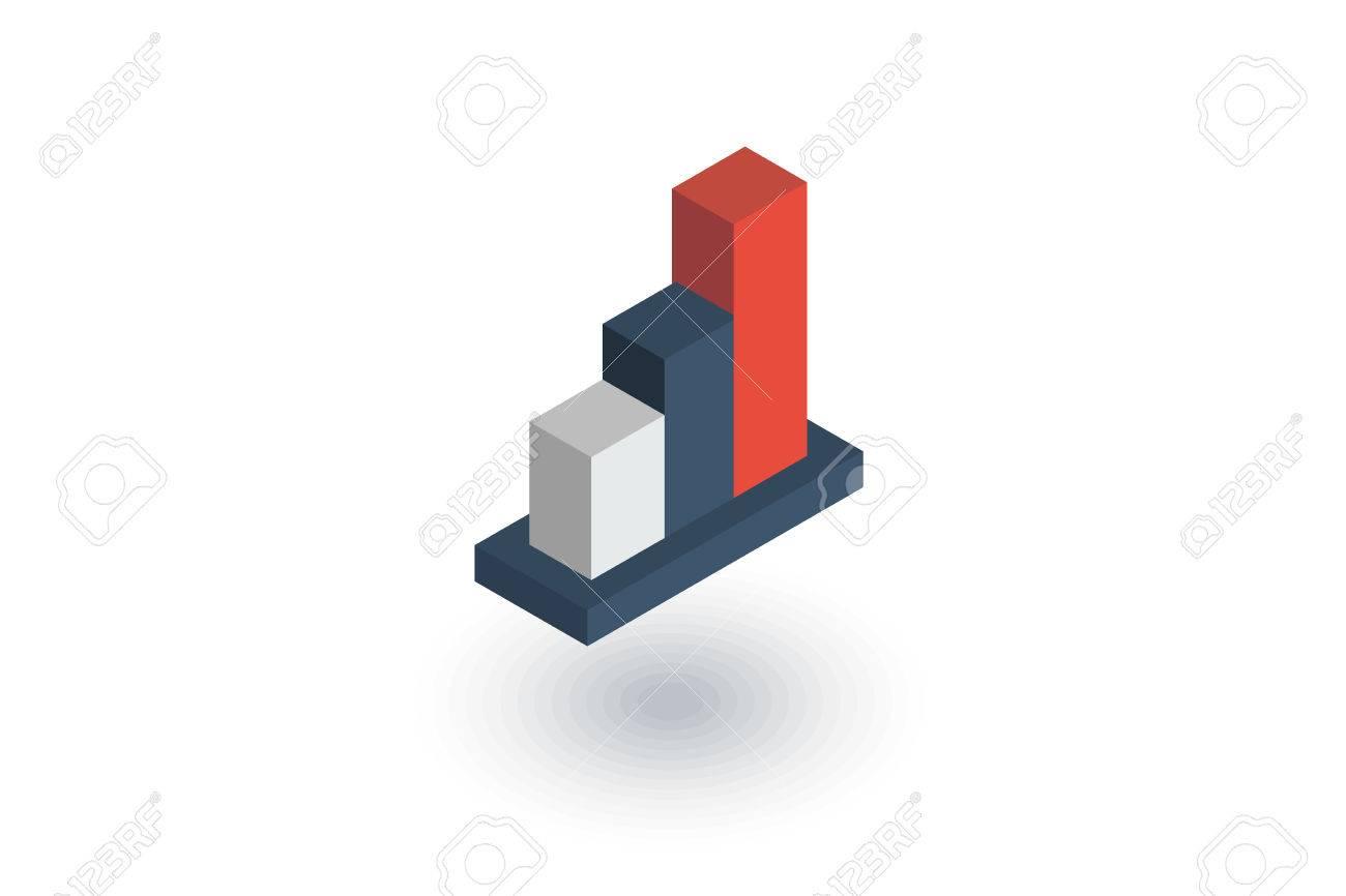Growth Graph Chart Market Success Stock Bar Up Isometric Flat