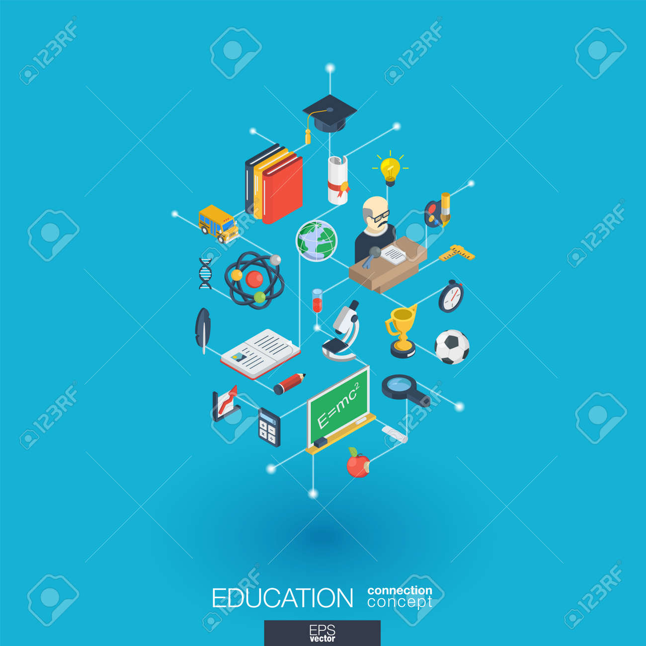 Education integrated 3d web icons. - 75651095
