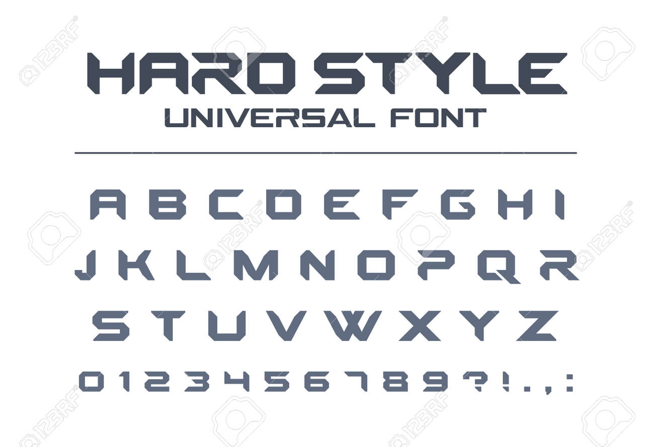 Hard Style Universal Font Military Army Sport Futuristic Stock
