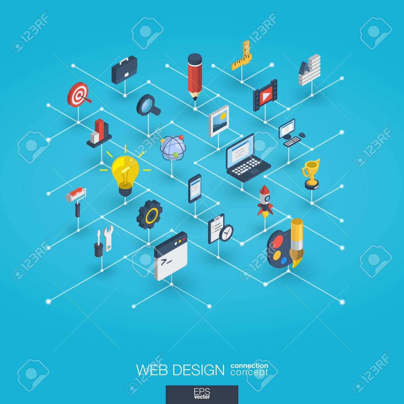 Web development integrated 3d icons. Digital network isometric interact concept. Connected graphic design dot and line system. Abstract background for seo, website, app design. Vector Infograph - 89704973