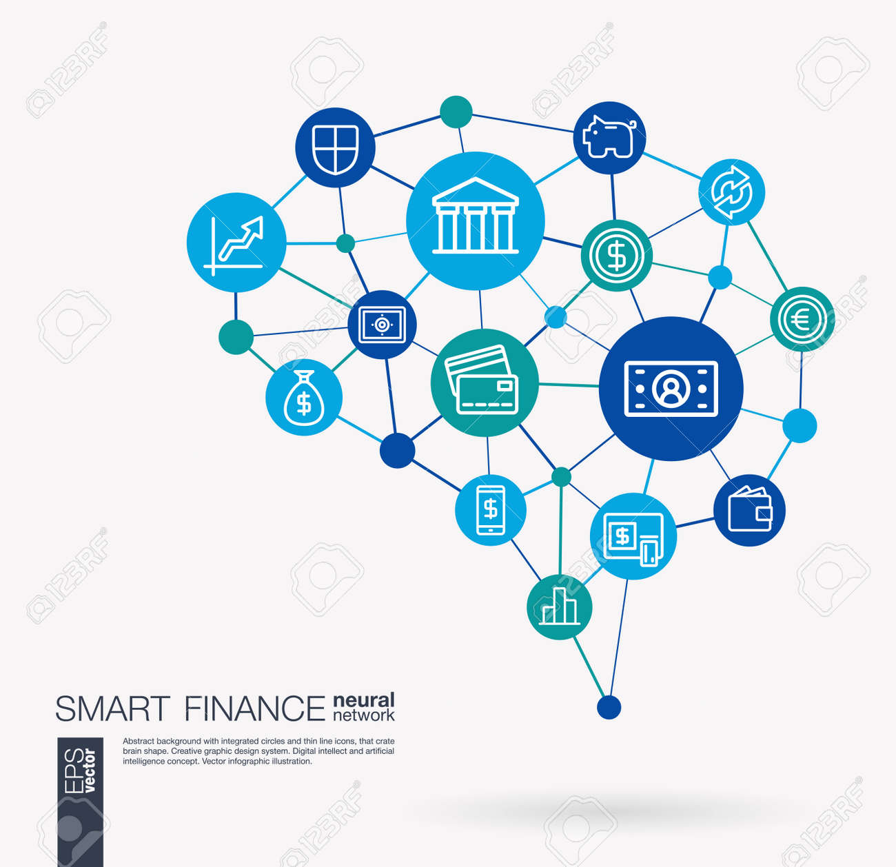 AI creative think system concept. Digital mesh smart brain idea. Futuristic interact neural network grid connect. Finance, money bank, market, payment transaction integrated business vector icons. - 94803998