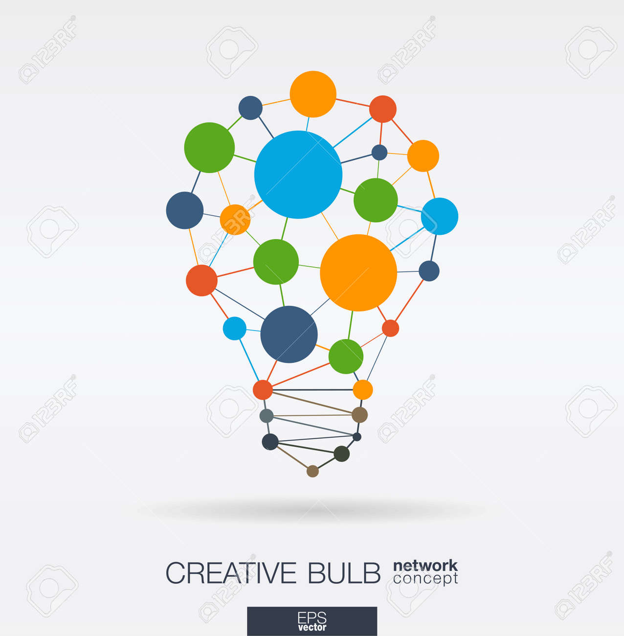 Education integrated thin lines and circles. Idea, solution in light bulb shape. Digital network concept. Connected polygonal system. E-learning, graduation, business school abstract background. Vector illustration. - 96286175