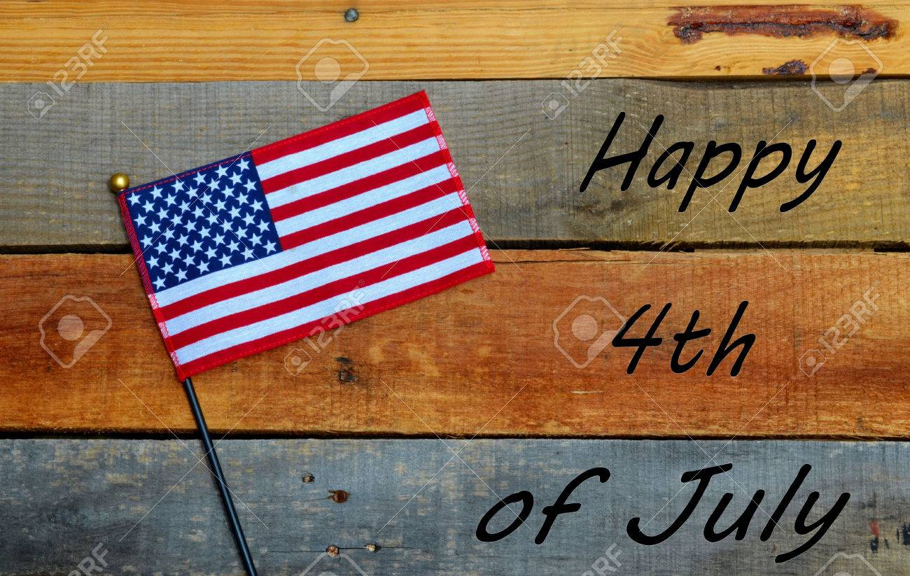 happy 4th of july flag on pallet wood stock photo picture and