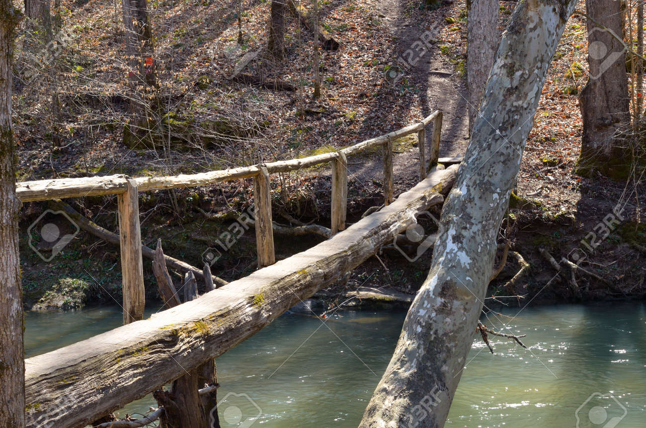 Scenic wooden walking bridge made out of a log  Bridge connects