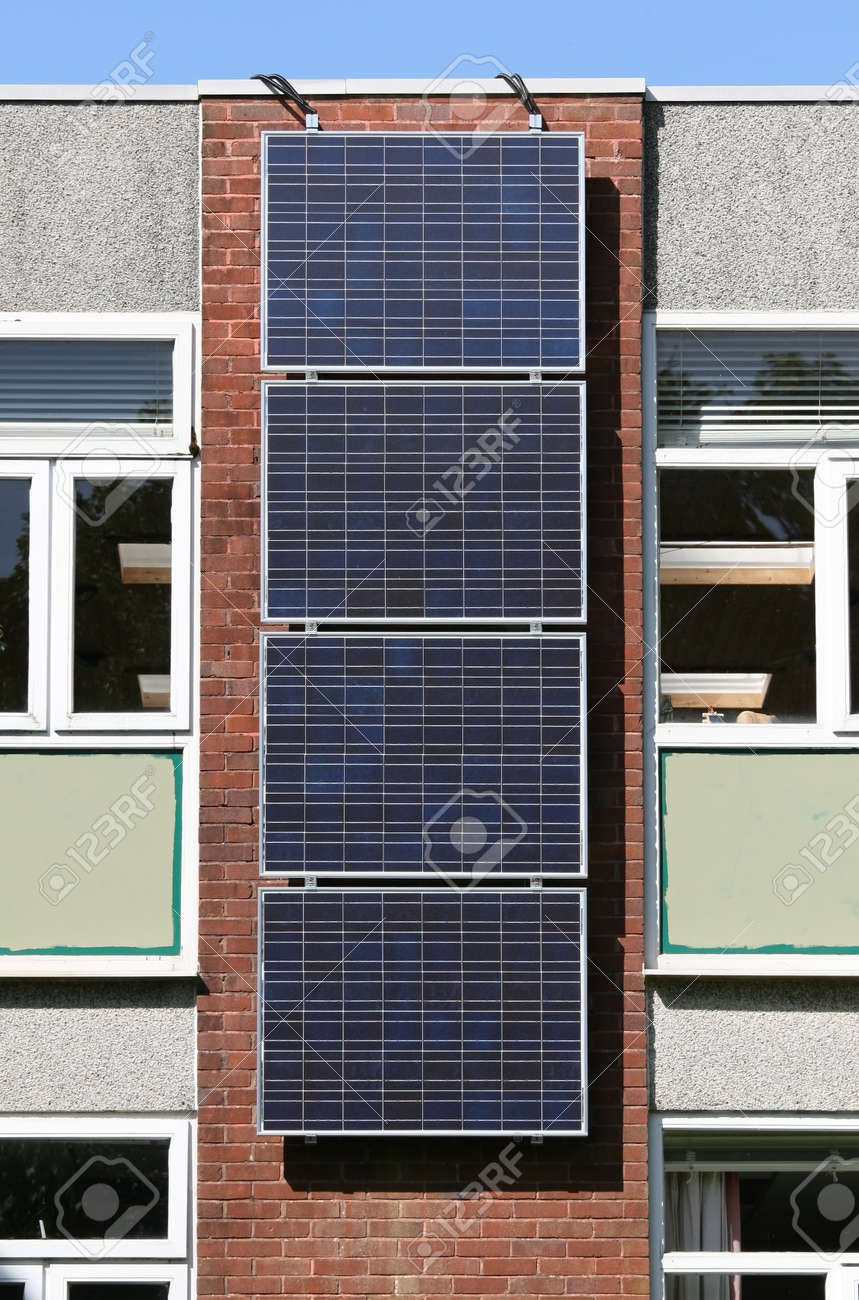 Solar Panel Wall >> Solar Photovoltaic Panel Array Mounted On Office Building Wall Stock