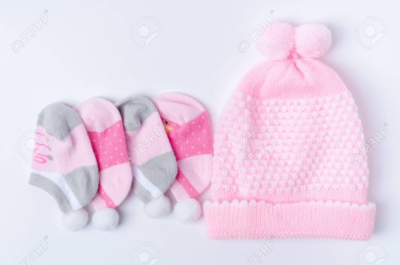 b54afc6d76e Pink knit hat and socks gift set for a newborn baby girl Stock Photo -  59076946