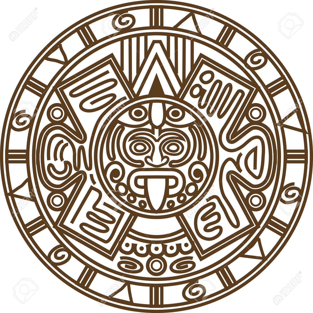Calendrier Maya Signe.Vector Illustration Image Stylisee De L Ancien Calendrier Maya