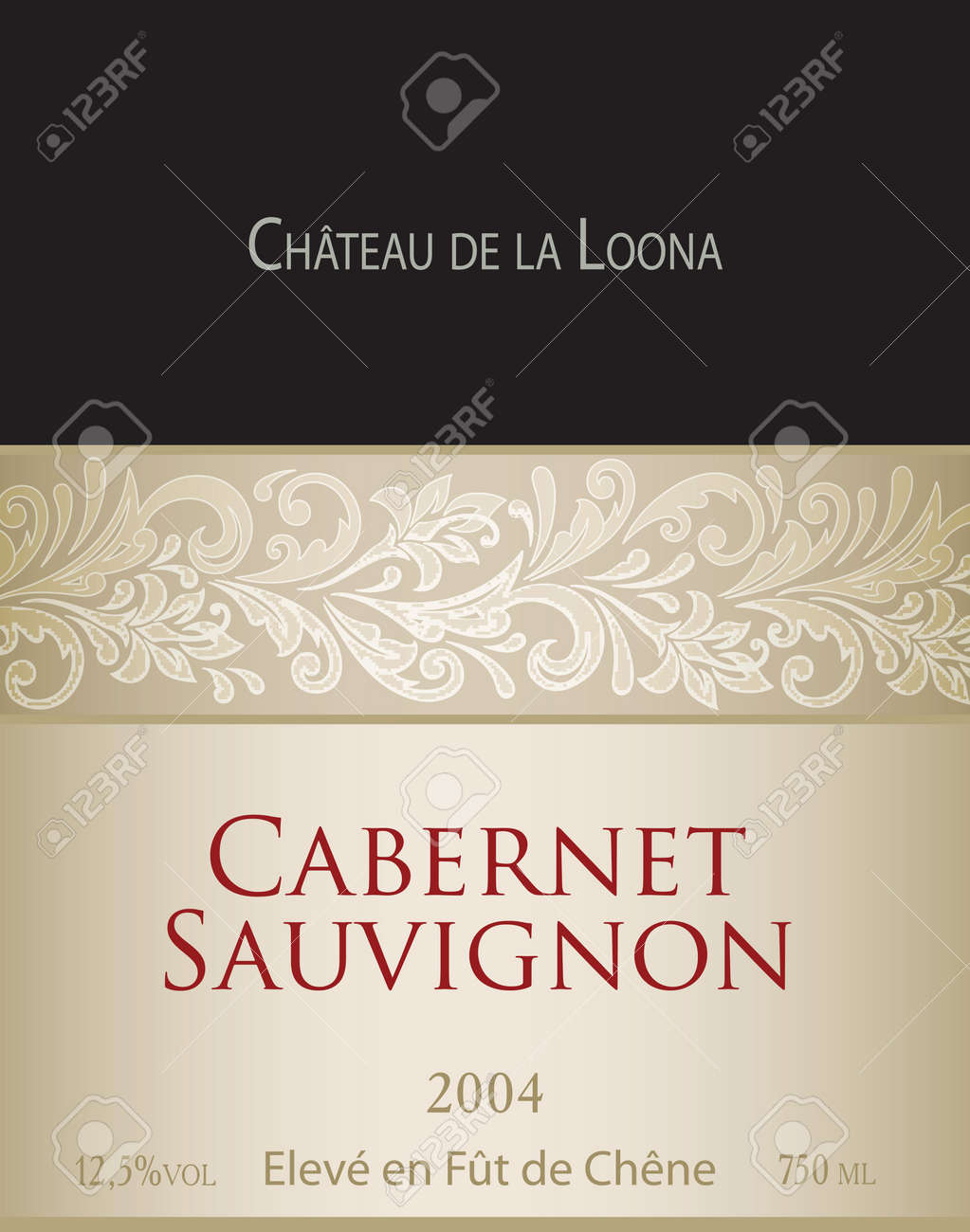 Vector Template Of White Wine Label Cabernet Sauvignon. On The Label Top  There Is A  Free Wine Label Template