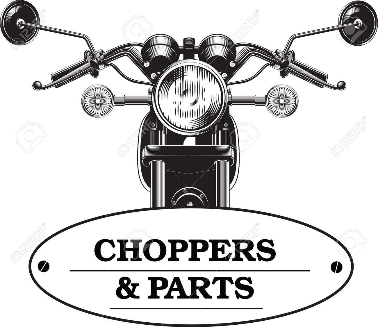 Chopper Motorrad Vorderseite Isoliert Auf Weißem Hintergrund Schwarz ...
