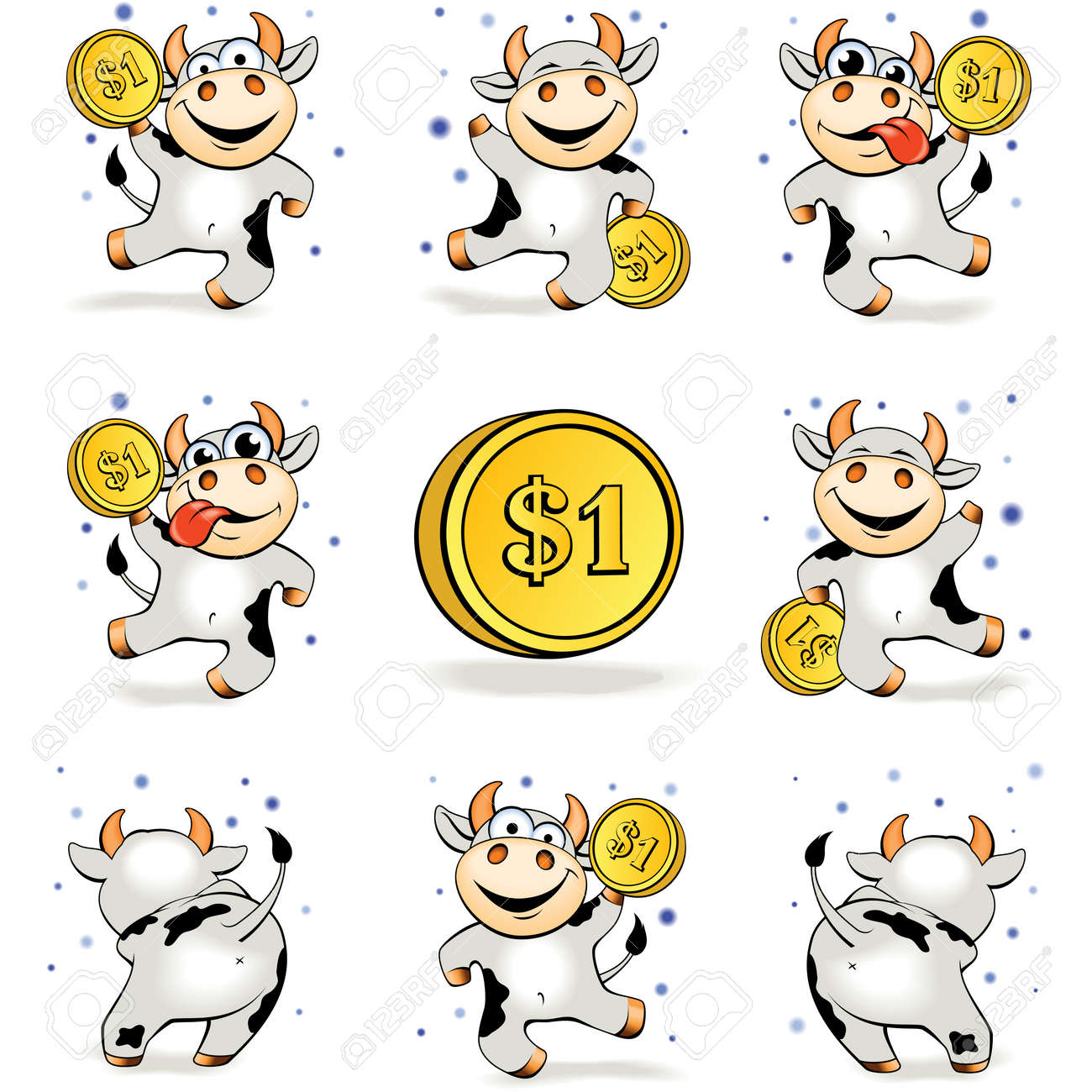 funny cartoon crazy young cow with gold coin 1 dollar is happy royalty free cliparts vectors and stock illustration image 75278048 funny cartoon crazy young cow with gold coin 1 dollar is happy