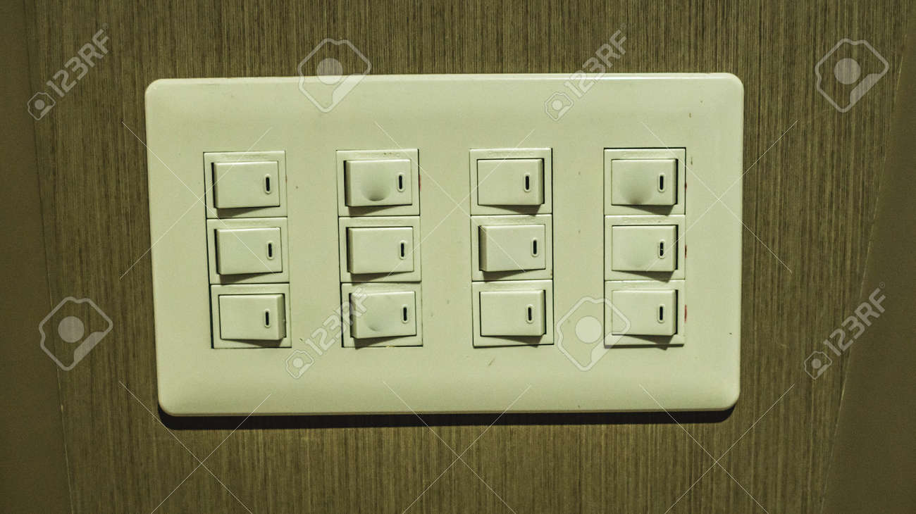 Electrical Control Panel With Multiple Switches Mounted On The ...
