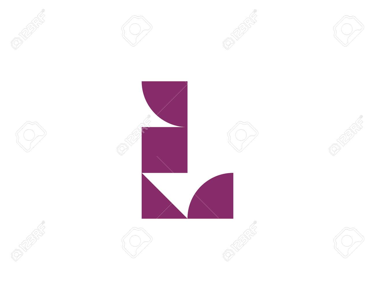 Abstract letter L logo icon design modern minimal style illustration. Creative alphabet from purple geometric shapes emblem sign symbol mark logotype - 153264094