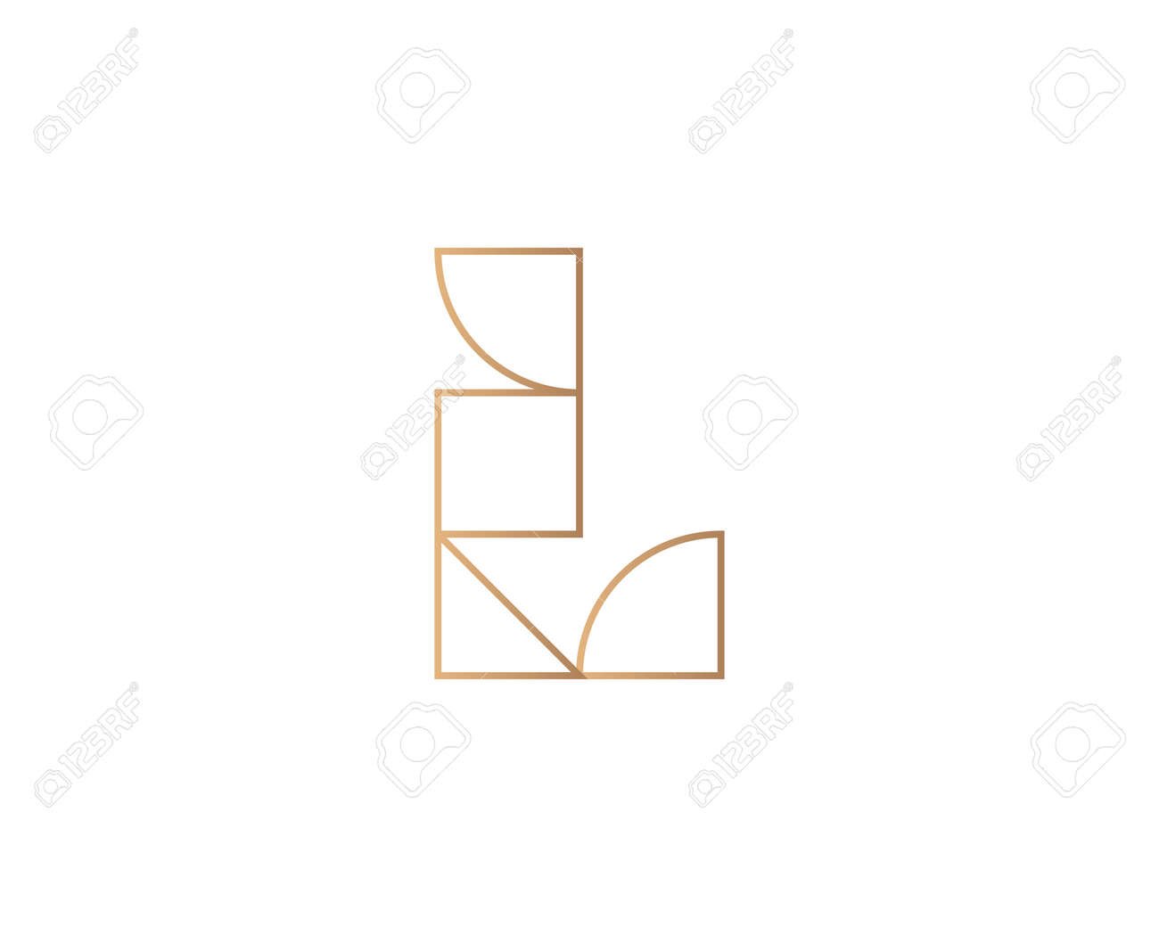 Abstract letter L logo design template on white background. Premium line gradient alphabet from geometric shapes emblem sign symbol mark logotype - 153265009