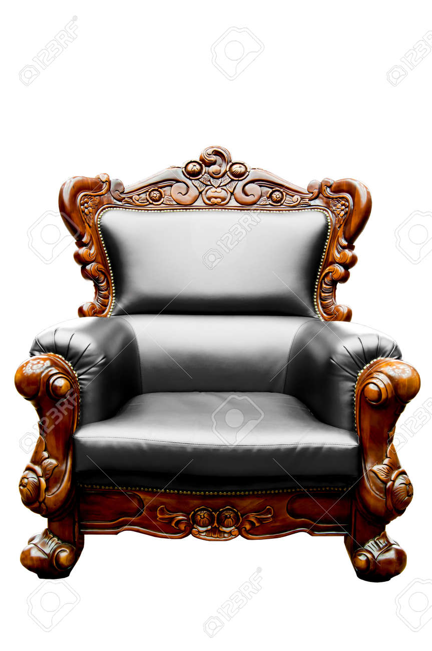 Antique black leather chairs - Stock Photo Vintage Black Luxury Leather Armchair Isolated