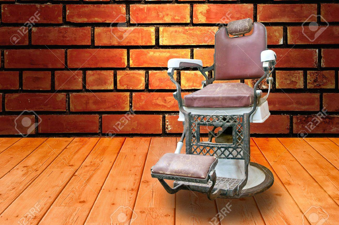 Old barber shop chairs - Barber Shop With Old Fashioned Chrome Chair Stock Photo 14100570