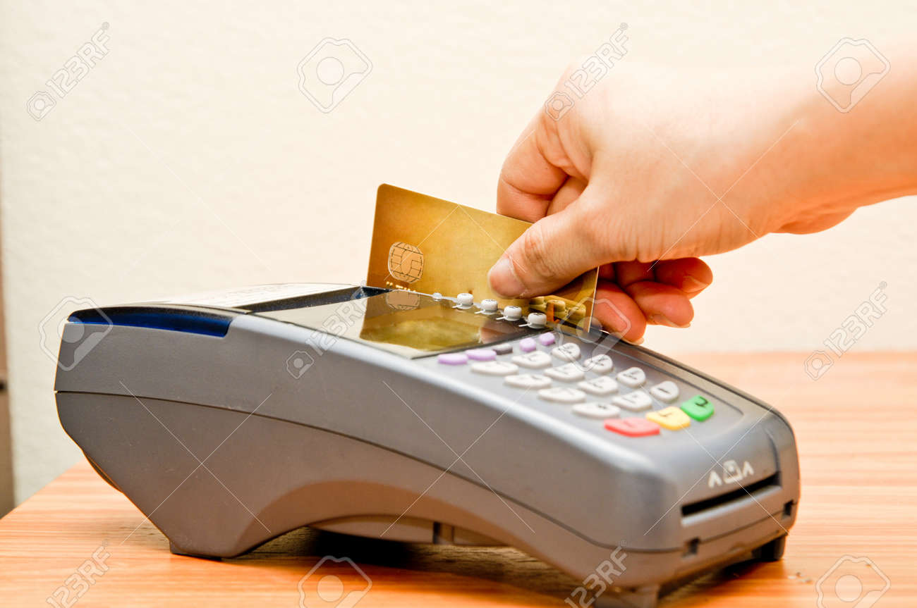 Close up Payment machine on during using Credit card from customer in shopping mall Stock Photo - 16325398