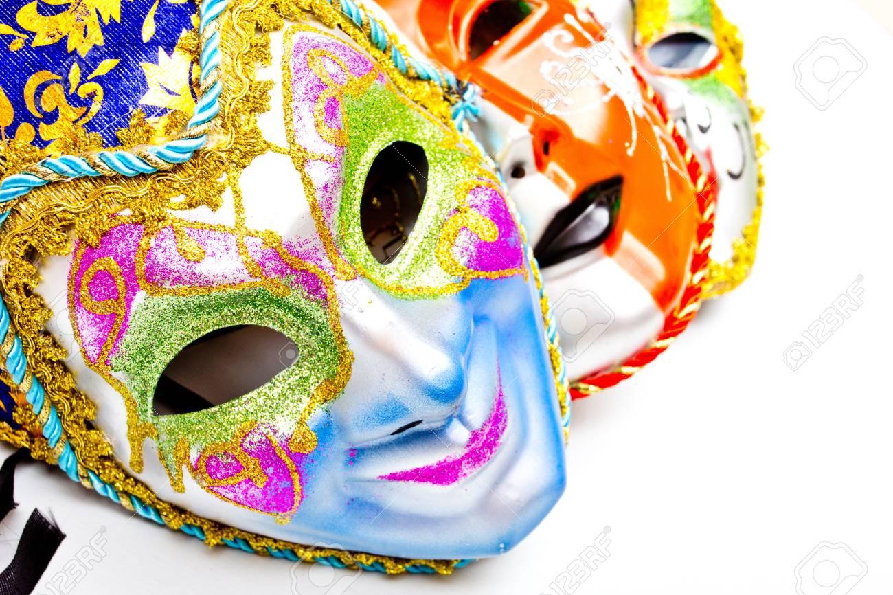 white drama masks in studio Stock Photo - 19495192