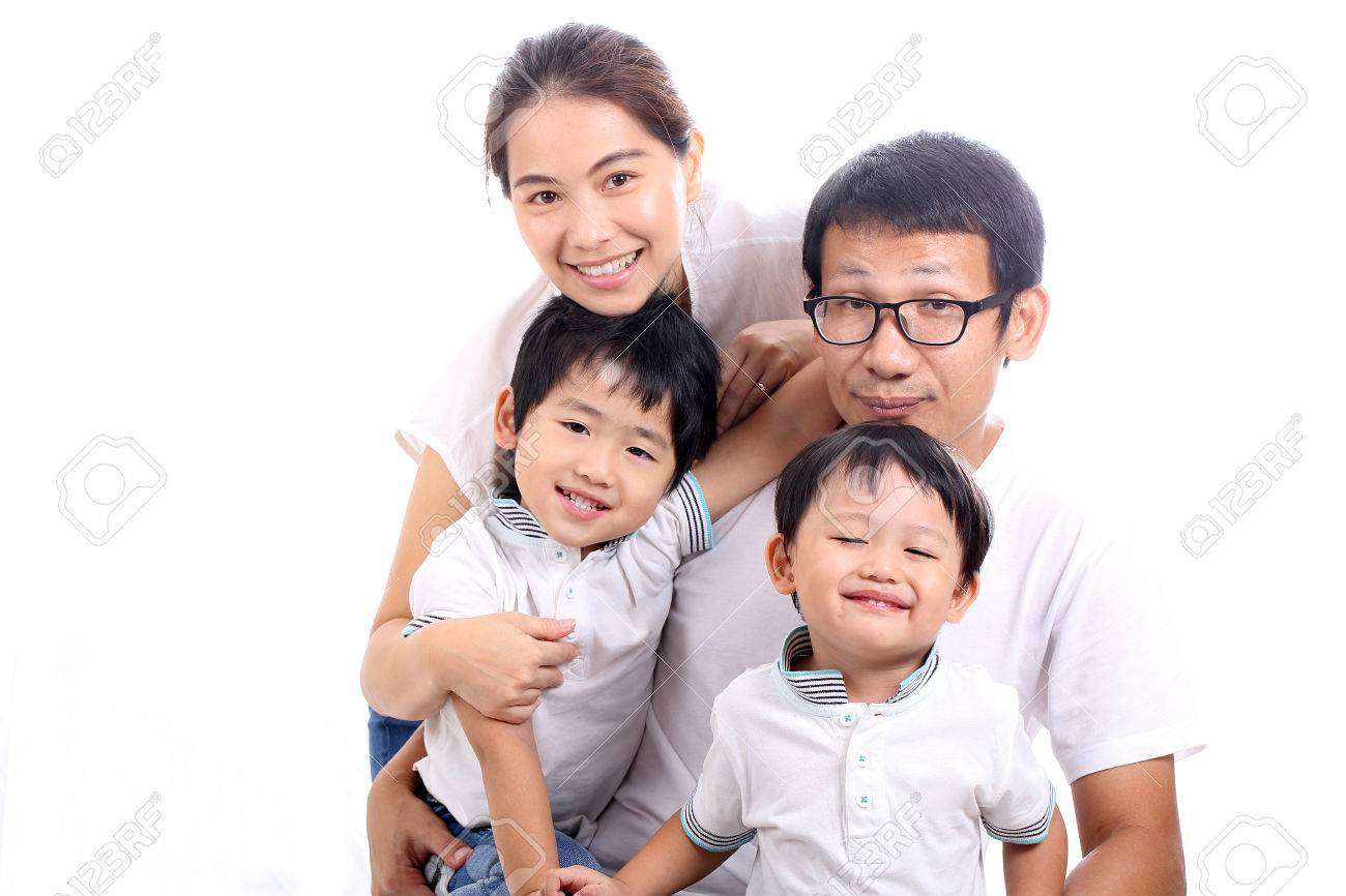 Asian family portrait with white background stock photo 34760615