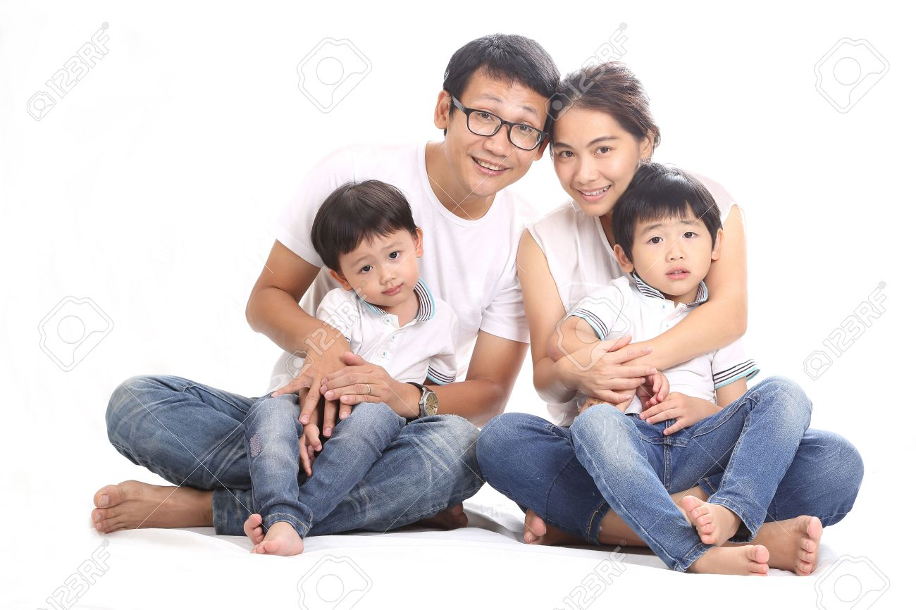 Asian family portrait with white background stock photo 34761266