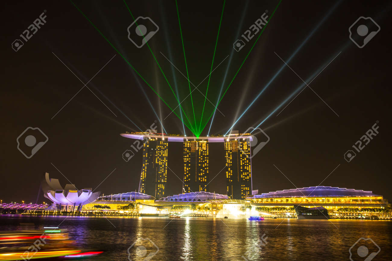 marina bay singapore march 16 2015 night light show area stock