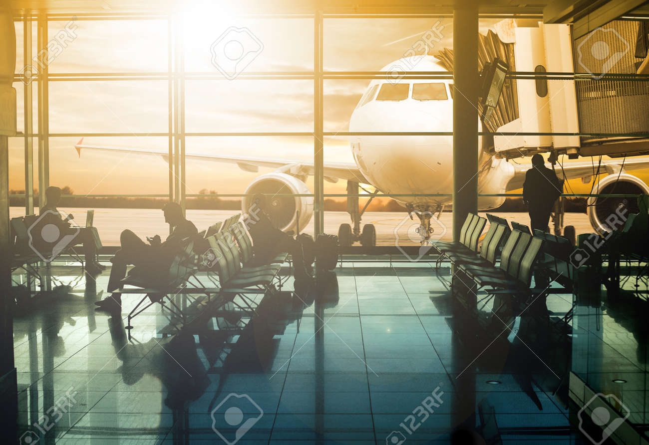 Airport terminal ,passenger wait for transportation with silhouette concept. - 50214976