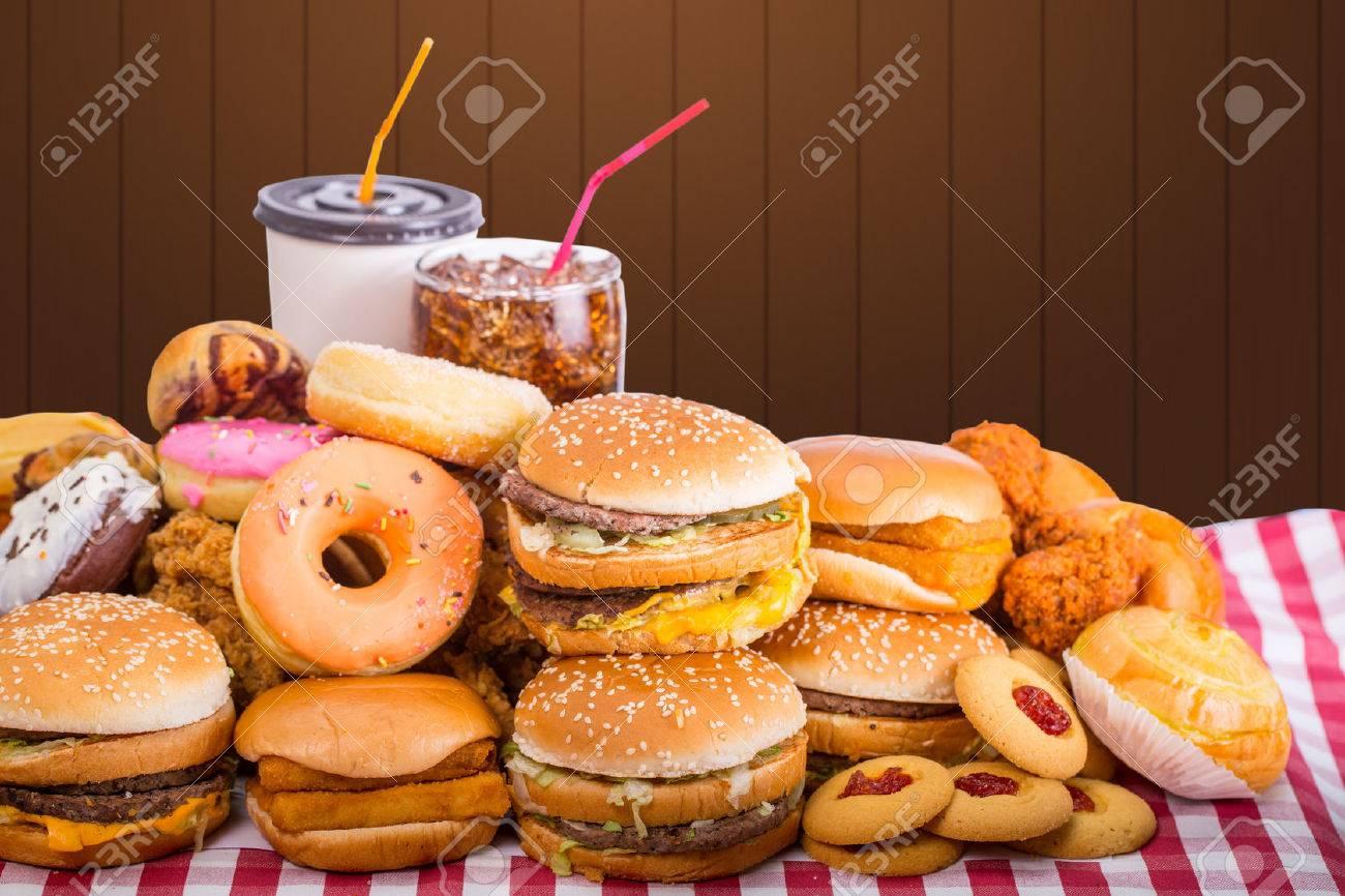 Multiple type of Fast food on table. - 51637650