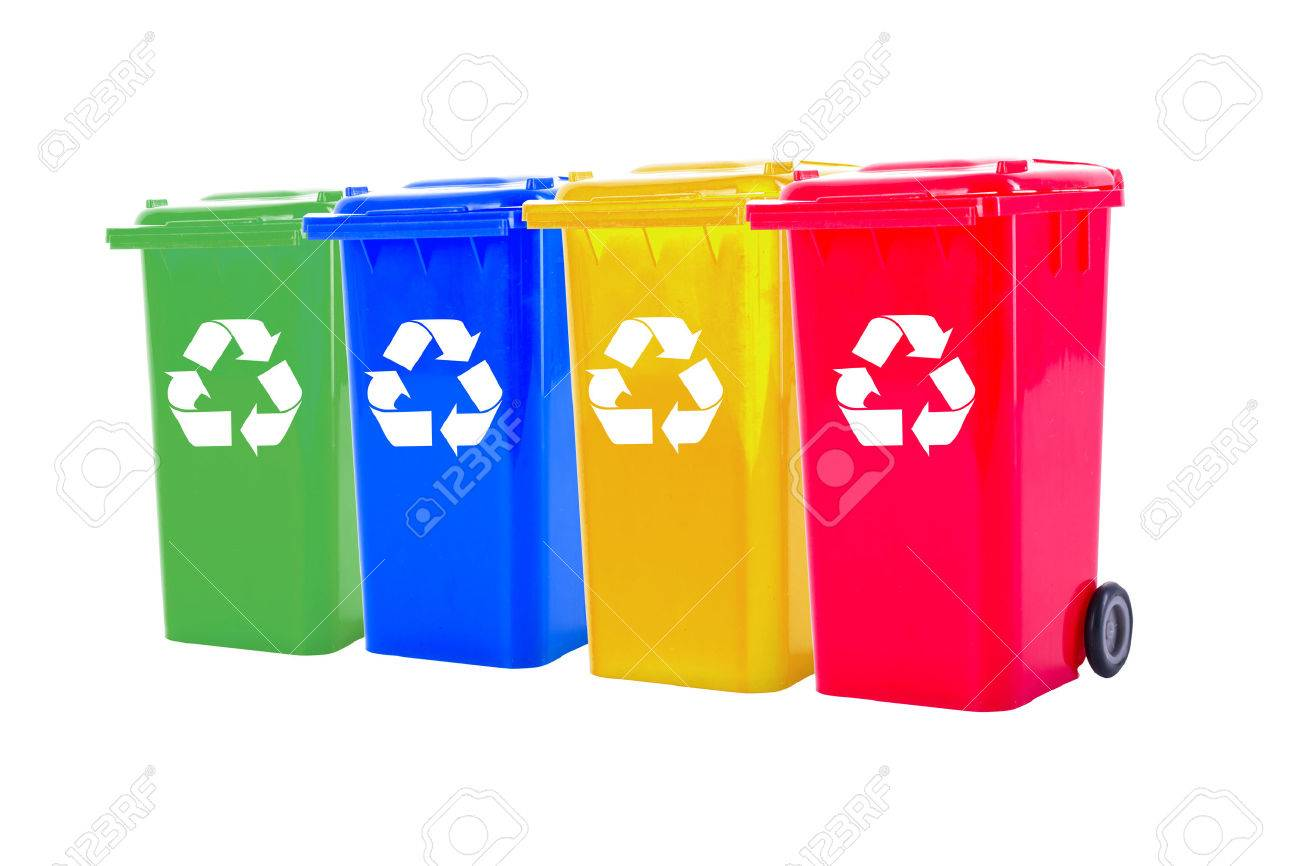 Recycle bin colorful for trash your garbage and seperate type object for reuse protect our environment. - 55255465