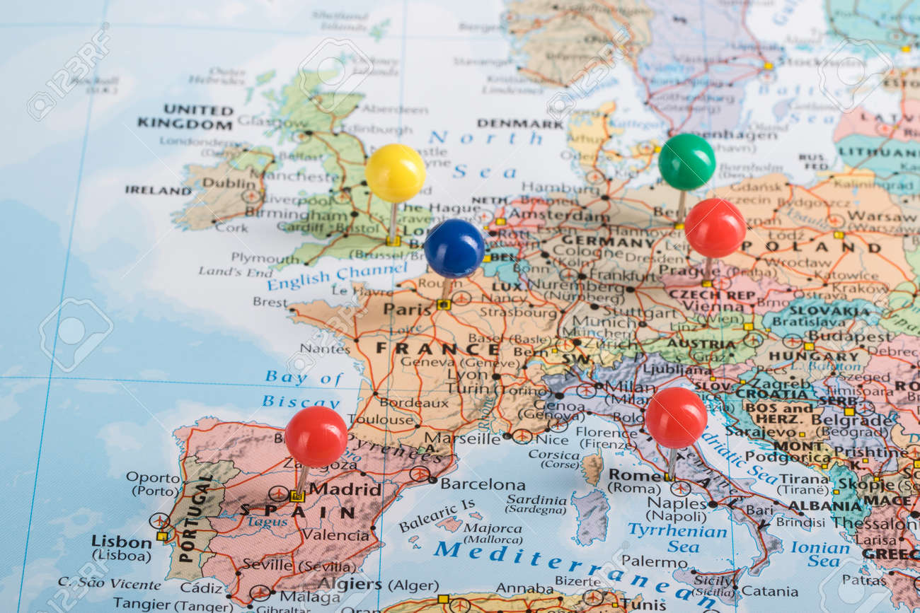 europe map pinpoint marking for your planning to travel trip stock