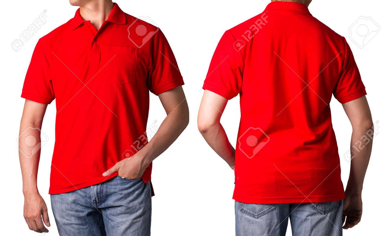 Polo Shirt Red Color Casual Fashion With White Background Stock