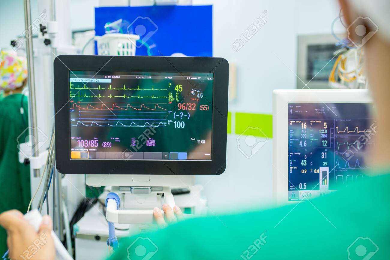 Heart rate monitor for check ekg graph heartbeat in hospital