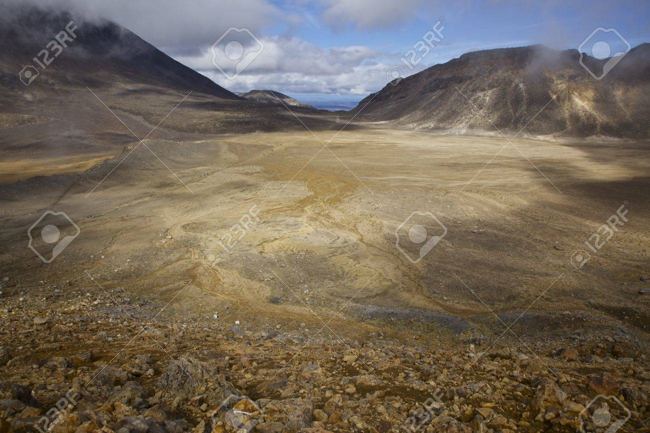 Large crater among the volcanic landscape along the Tongariro Crossing North Island of New Zealand Stock Photo - 17207887