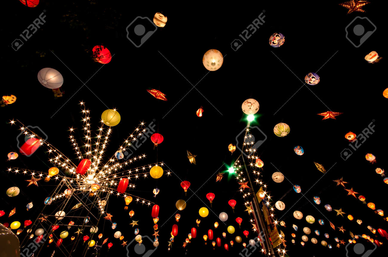 colorful street light bulbs in the night Stock Photo - 11724930