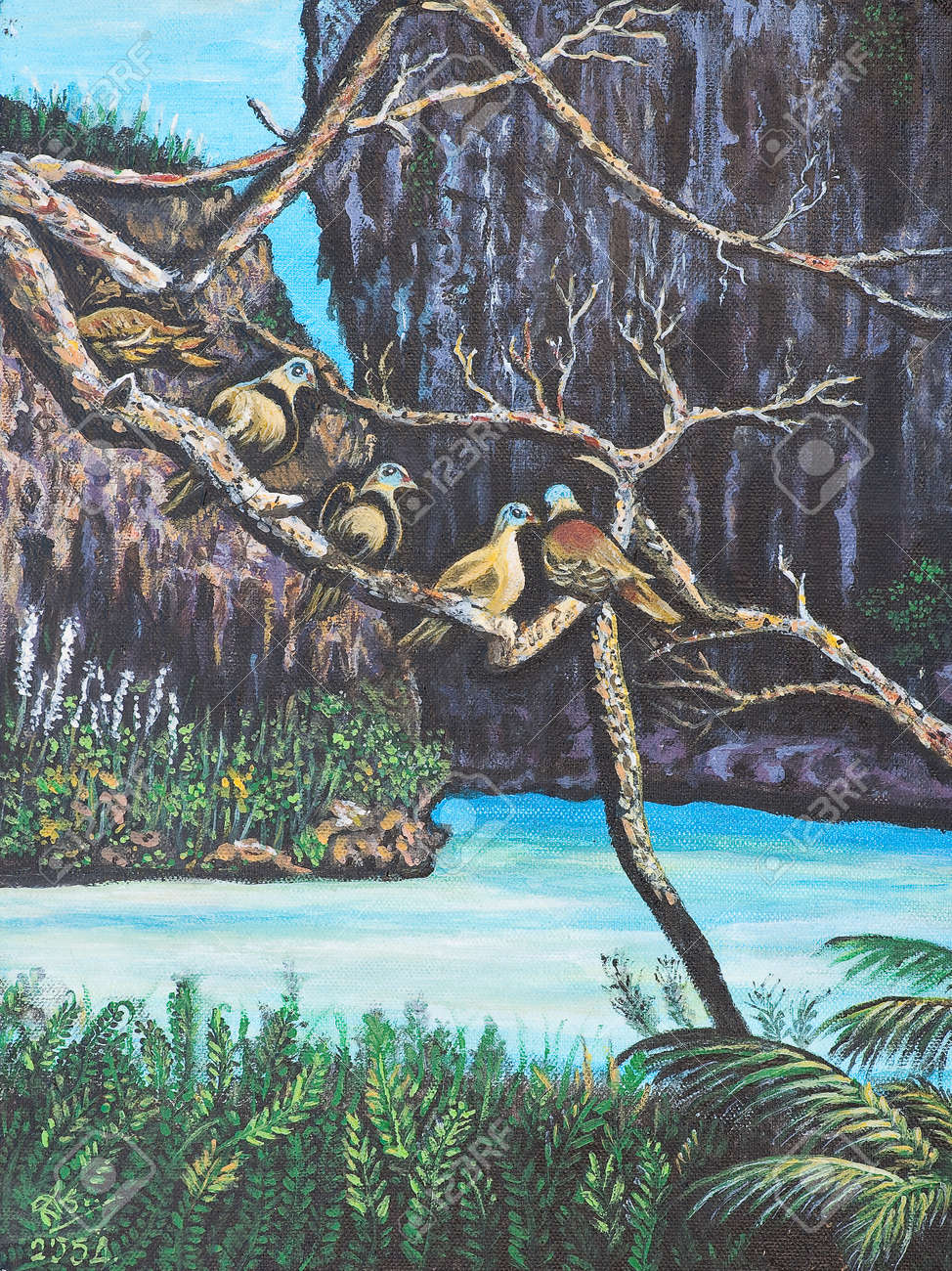 Oil painting on canvas - birds on the branch Stock Photo - 12836803