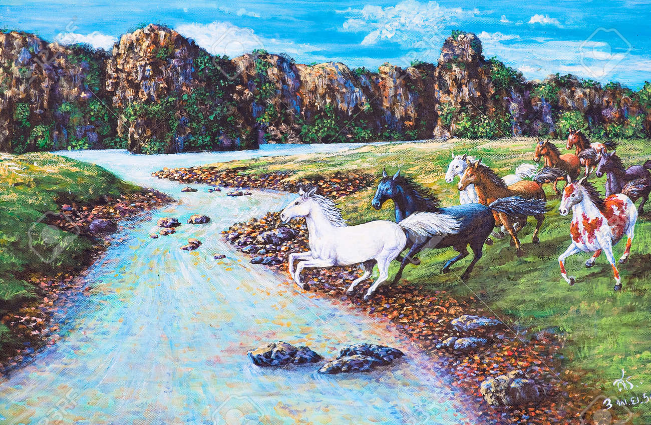 Oil painting on canvas - horses in the forest Stock Photo - 12836801