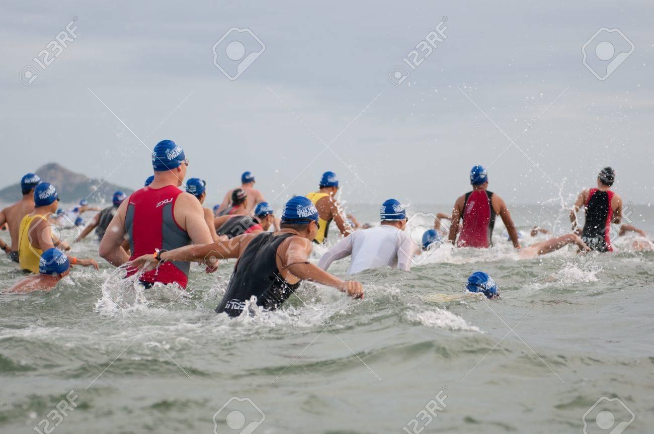 HUA HIN, THAILAND - AUGUST 19 - Unidentified Triathlon competitors in Queen Stock Photo - 14819215