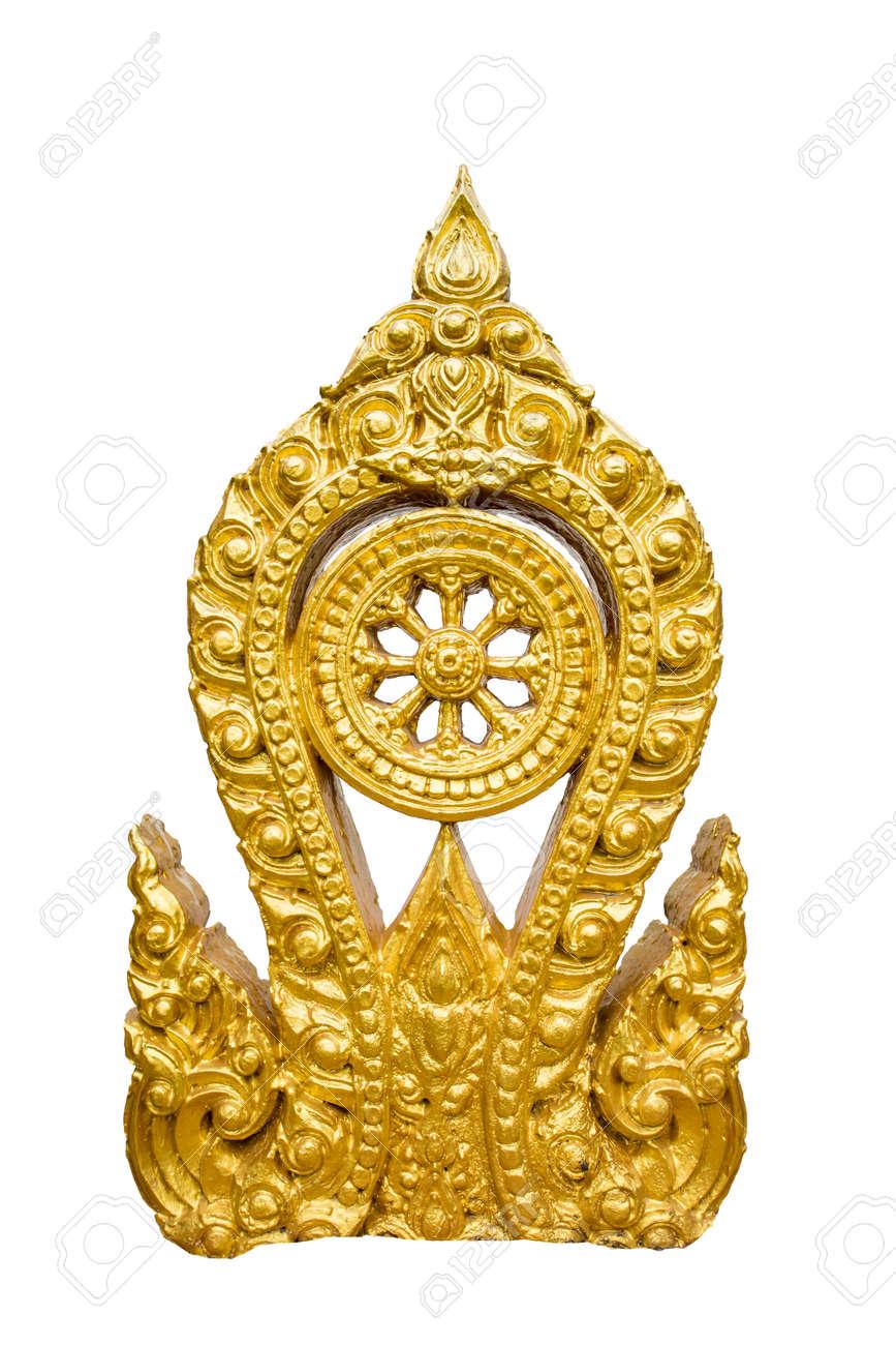Gold Thammachak Symbol Des Buddhismus Manchmal Oder Somepeple