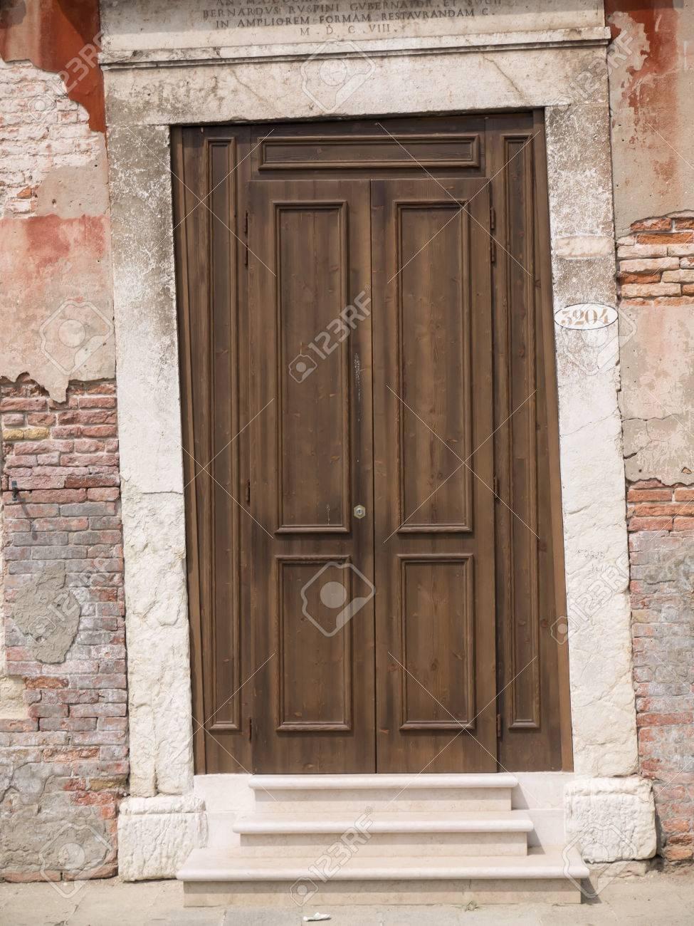 Wooden door fitted into crooked doorpost from 17th century Stock Photo - 25876224 & Wooden Door Fitted Into Crooked Doorpost From 17th Century Stock ...