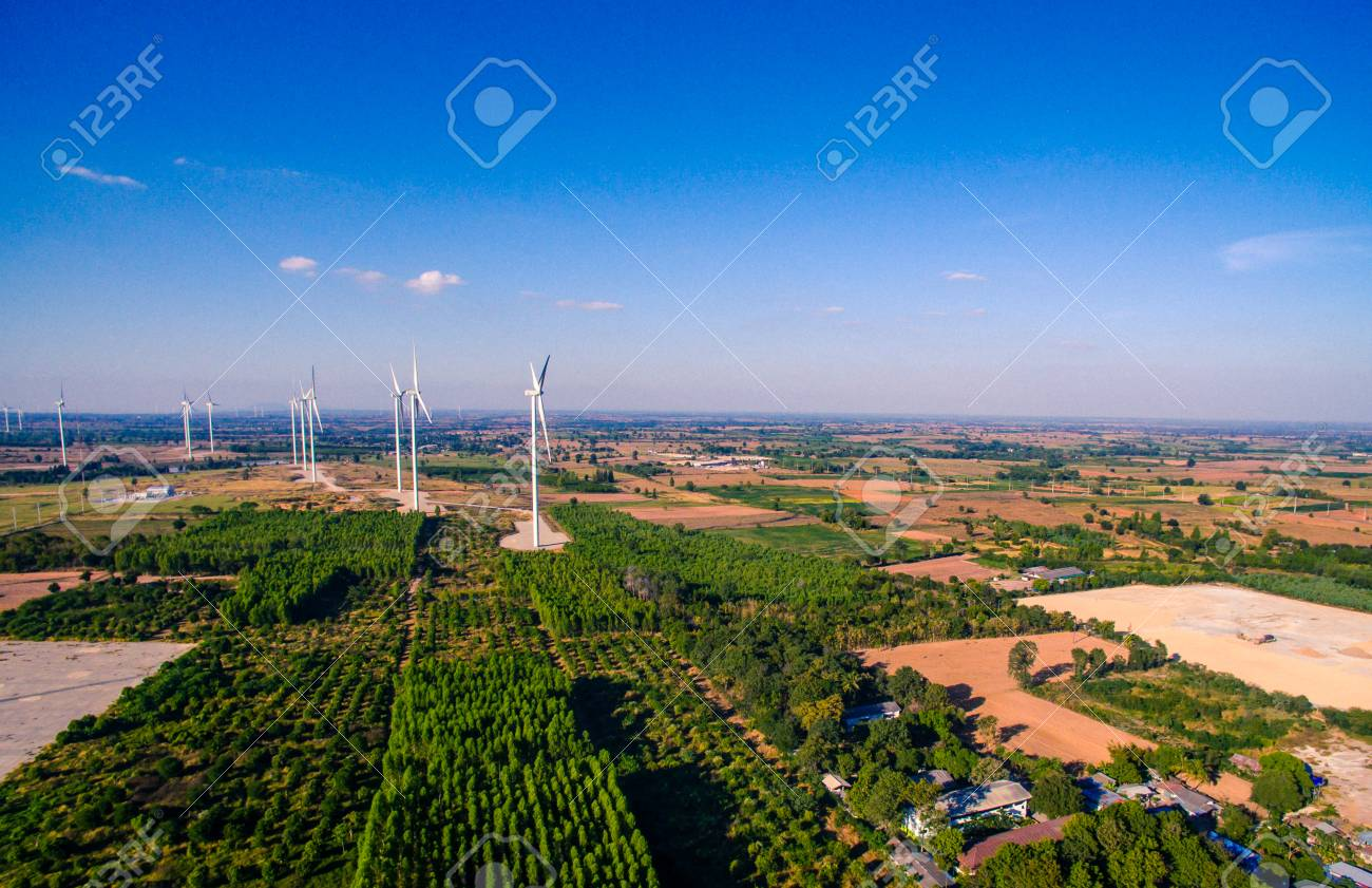 Shots For Thailand >> High Angle Shots Wind Turbine In A Field Of Thailand