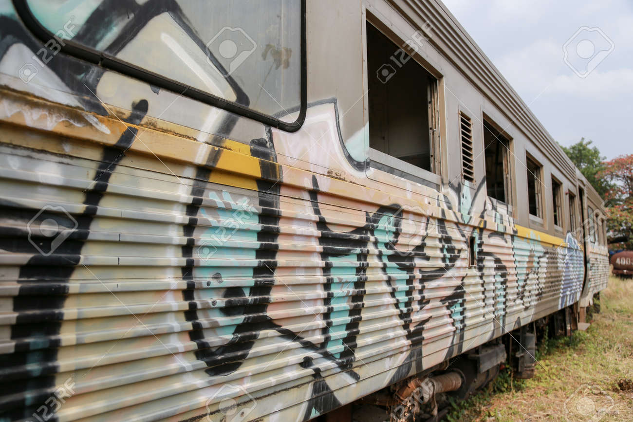Stock Photo The Thai Abandoned Train Makes Graffiti