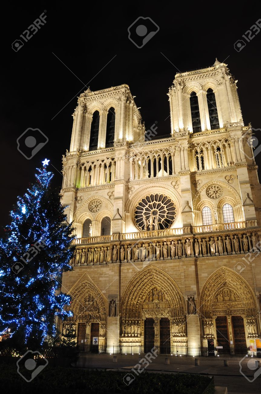 Notre Dame Cathedral with Christmas tree - Paris, France Standard-Bild - 8506227