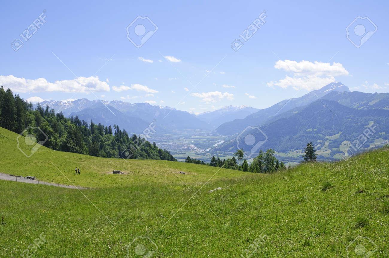 Meadow in Maienfeld, Schweiz Standard-Bild - 10047348