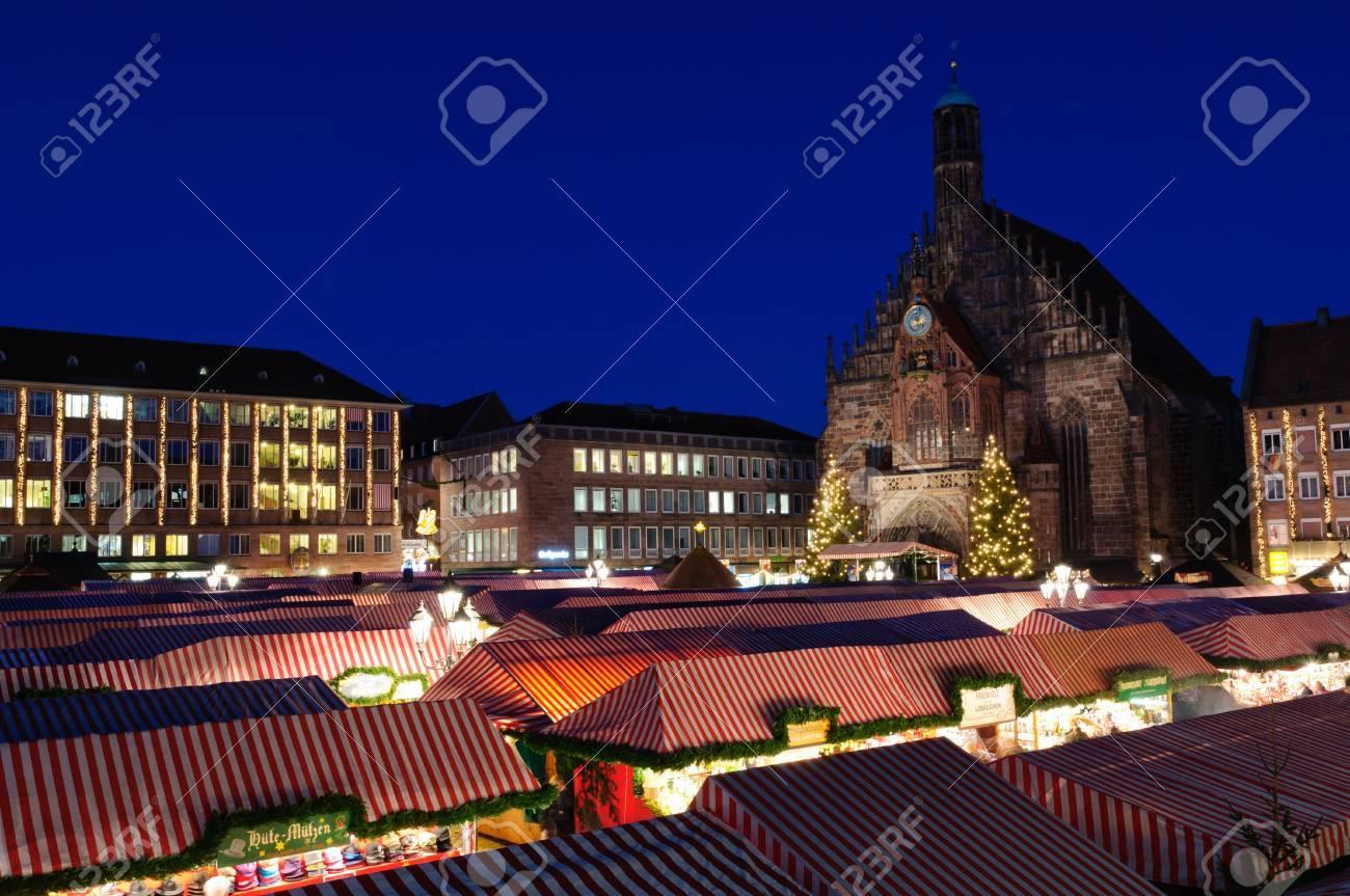 Christkindlesmarkt Christmas Market In Nuremberg, Germany Stock ...