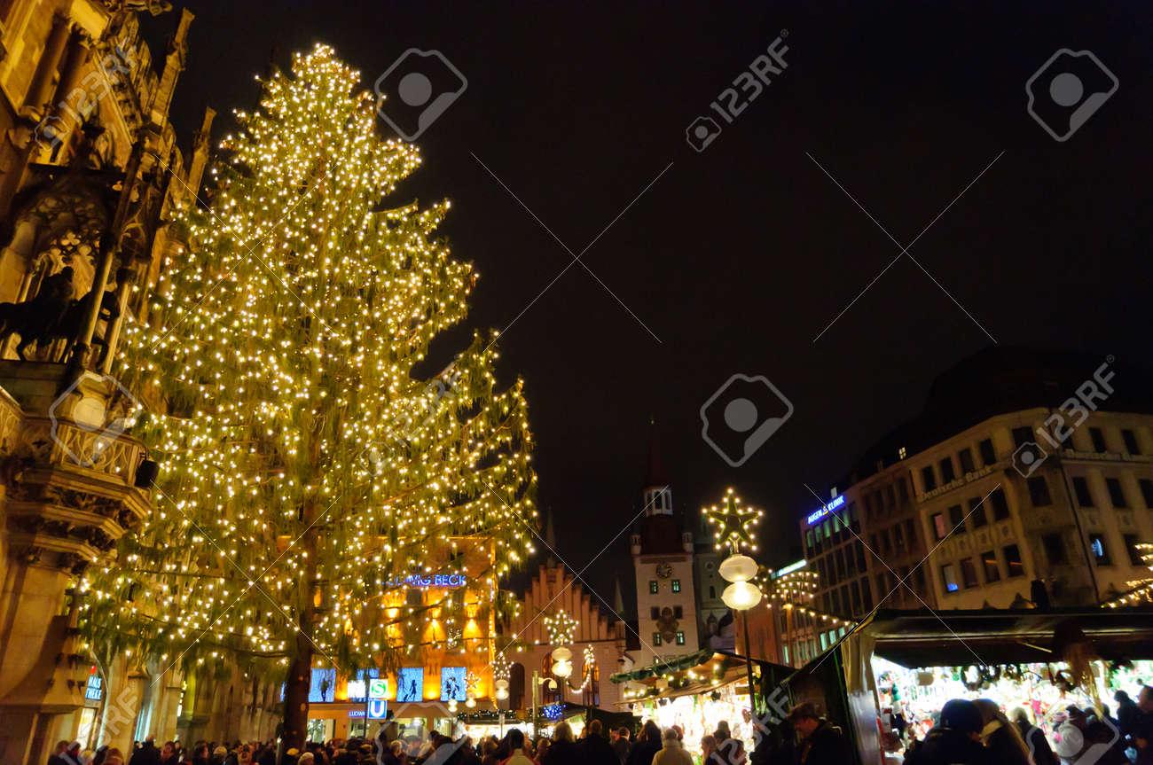Weihnachtsbeleuchtung München.Stock Photo
