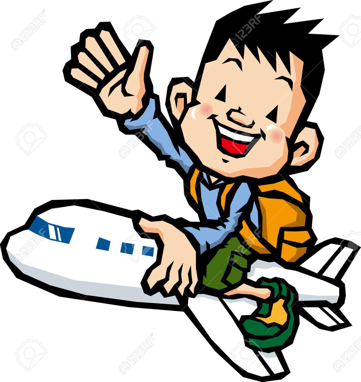 Boy Riding On An Airplane