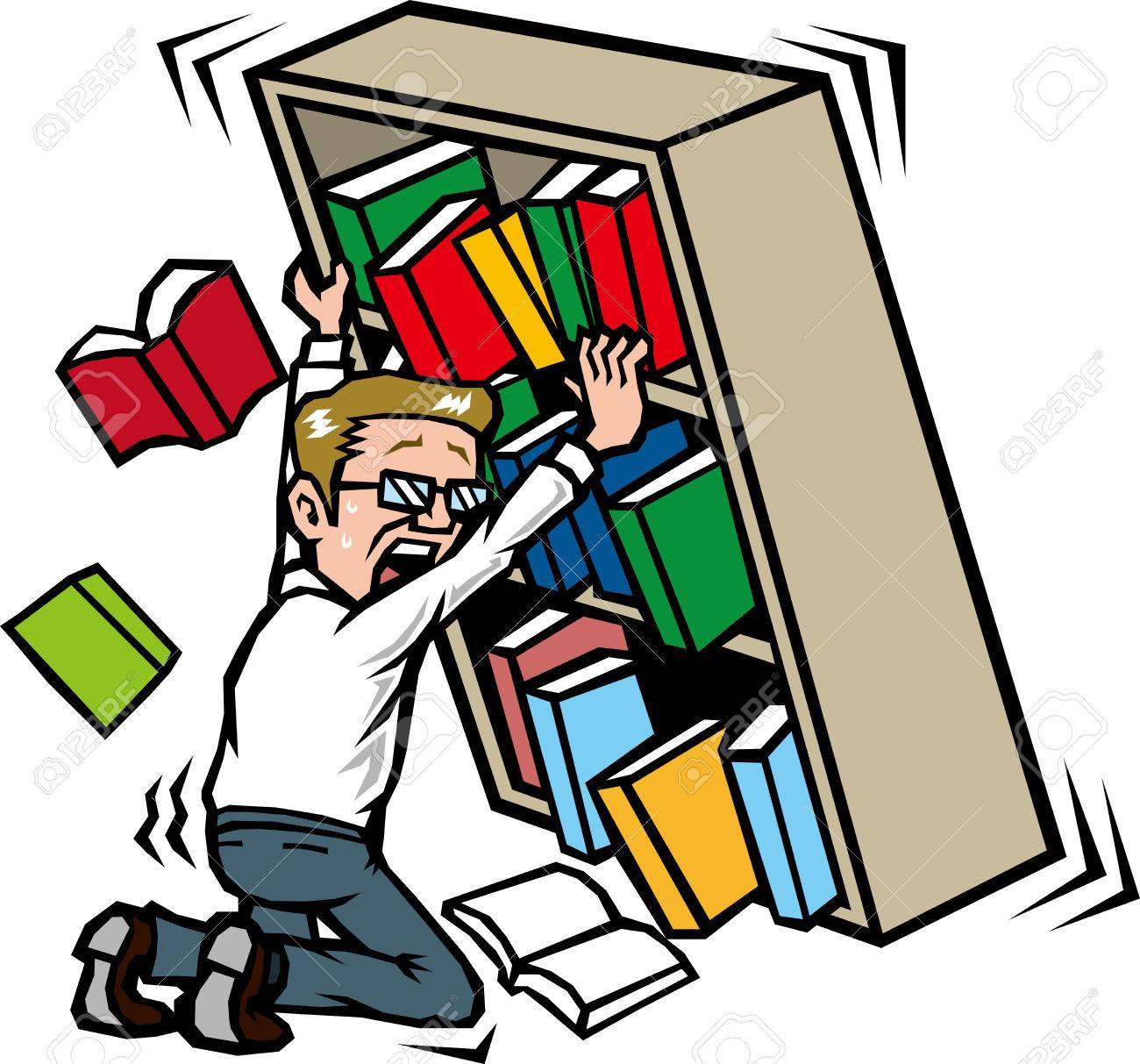 Those Who Hold The Bookshelf In Earthquake Stock Vector