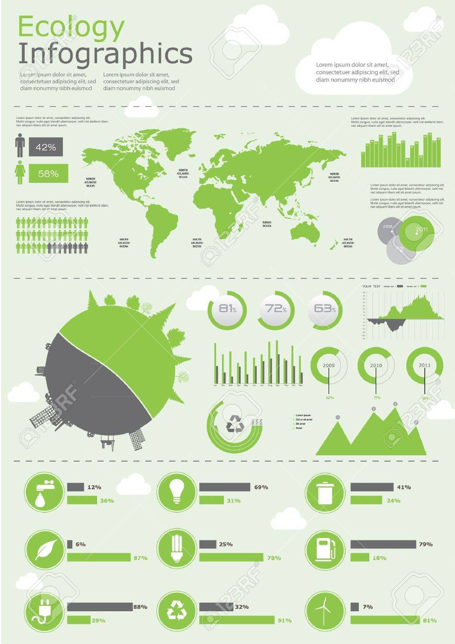 Ecology info graphics collection, charts, symbols, graphic vector elements Stock Vector - 12489987