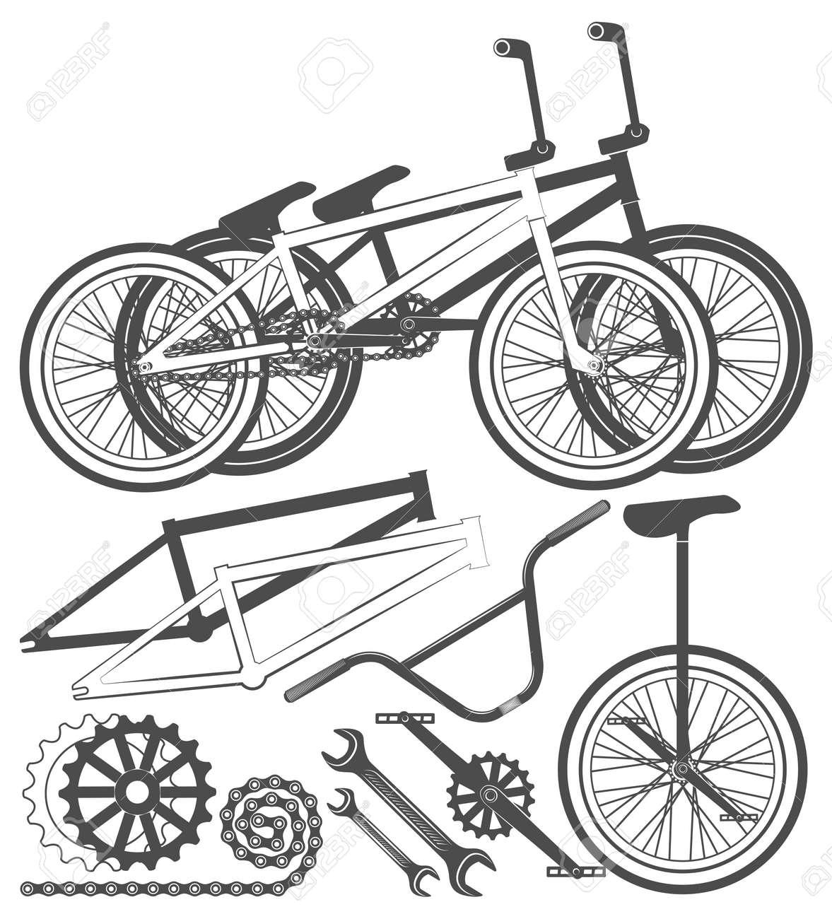 Set Of Bmx Bike Elements Bicycle Parts Wheel Chain Unicycle